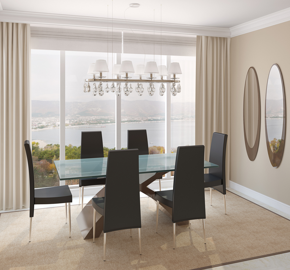 Well Accessorized Dining Room With A Great View