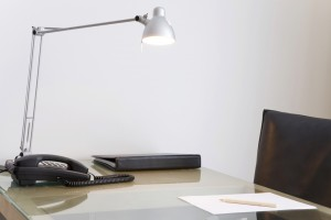 Office desk with light