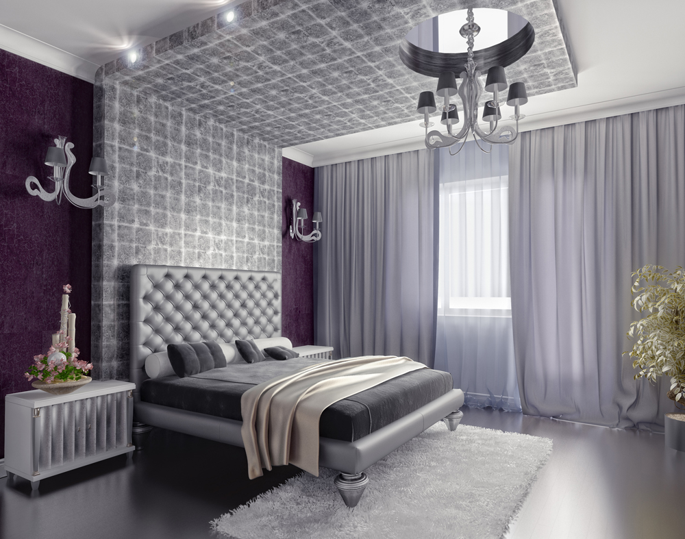 Silver Bedroom Lamp And Curtain