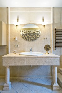 Bathroom Vanity in Stone and Tile