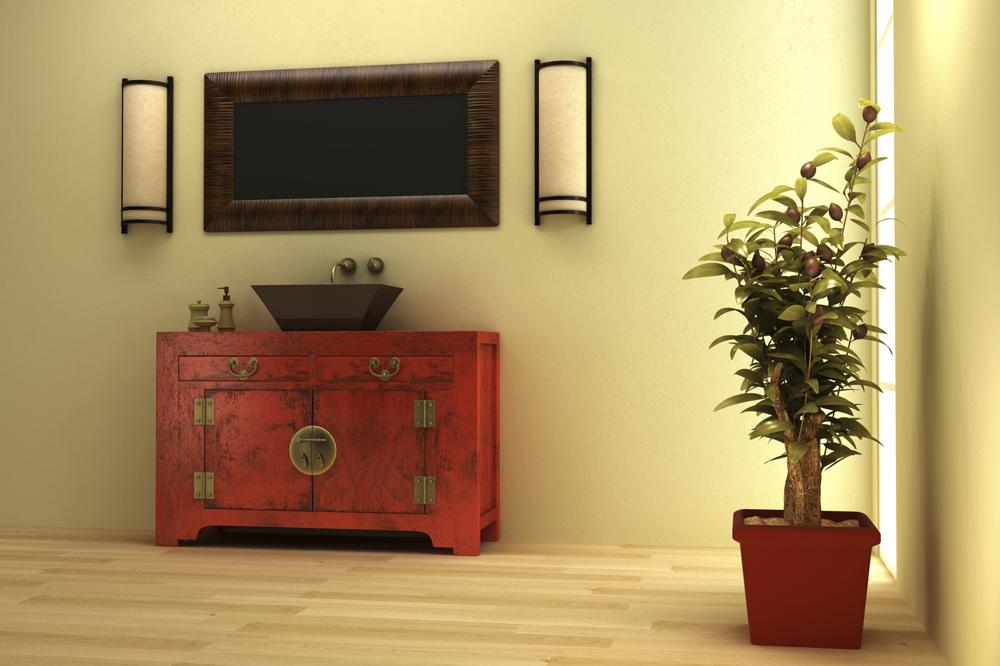 Distressed Red Bathroom Vanity ...