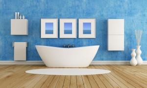 Angular Bathtub in Blue Bathroom