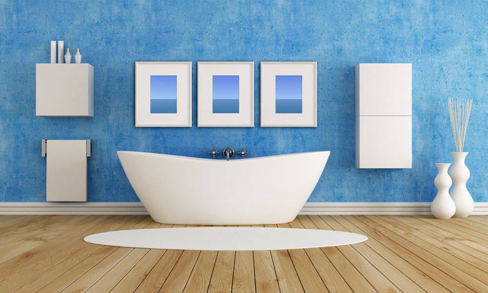 Angular Bathtub In Blue Bathroom