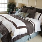 Brown and White Bedding