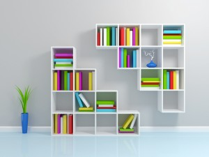 White square wall-mounted book cases