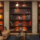 Built-in bookcase with lights
