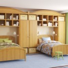 Twin Beds with Built-In Cabinets