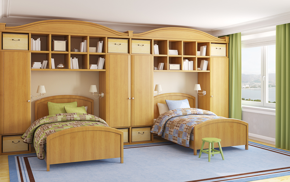 Twin Beds With Built In Cabinets
