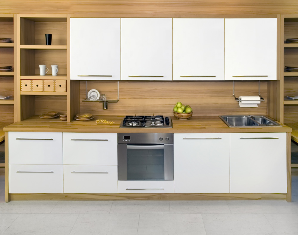 White Cabinets In A Wood Kitchen