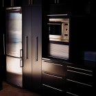 Black and steel finish urban kitchen cabinets