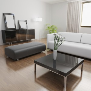 Living room with white sofa and glass coffee table