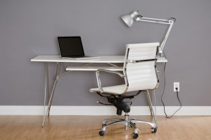 Simple white desk and chair