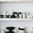 Crockery on shelves