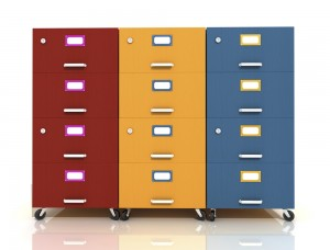 Filing Cabinet in primary colours