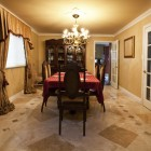 Dining room with stone tile floor