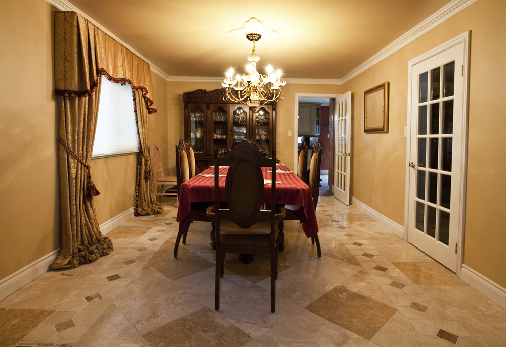 Delightful Dining Room Flooring Ideas Part - 7: Dining Room With Stone Tile Floor ...
