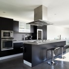 Beautiful new apartment kitchen with concrete floor
