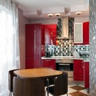 Modern kitchen interior with checkerboard mixed tiles