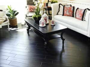 Black hardwood flooring in new home