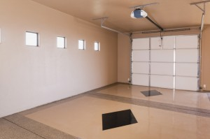 Garage with floor inlays
