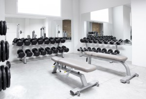 Fitness club style weight training equipment gym