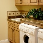 Wood and tile Laundry Room
