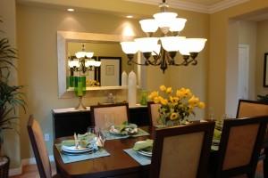Elegant Chandelier in Warm Dining Room
