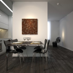 Modern dining corner with black tables and chairs
